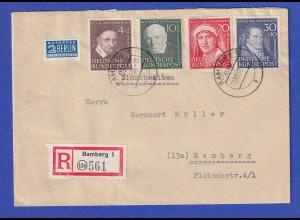 Bund Wohlfahrt 1951 Mi.-Nr. 143-46 kpl. Satz auf Orts-R-Brief Bamberg