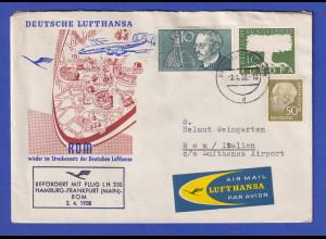 Lufthansa-Erstflugbeleg Hamburg-Frankfurt-Rom vom 2.4.1958