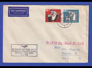 Lufthansa-Erstflugbeleg Hamburg-Brüssel-New York vom 2.4.1958
