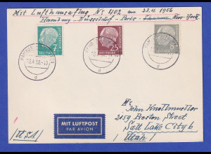 Lufthansa-Erstflugbeleg Hamburg-New York 23.4.56 mit 3 Heuss-Werten