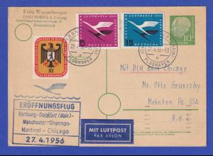 Lufthansa-Erstflugbeleg Hamburg-Chicago 27.4.56 mit Mi.-Nr. 205, 207 ect.