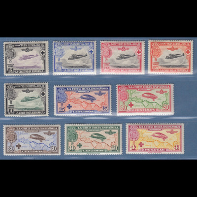 Spanien 1926 Flugpostmarken Rotes Kreuz Mi.-Nr. 312-21 Satz kpl. postfrisch **