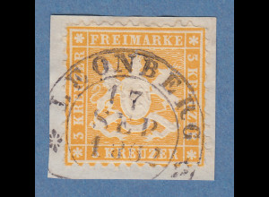 Württemberg 3 Kreuzer gelborange Mi.-Nr. 22a O LEONBERG gpr. Heinrich BPP
