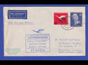 Lufthansa-Erstflugbeleg Hamburg-Chicago vom 27.4.1956 mit u.a. Berlin 128