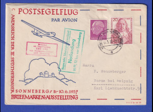 BRD Zuleitung Postsegelflug DDR 2062 Meiningen-Dolmar-Sonneberg Notlandung 1957