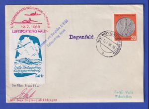 Postsegelflug ELCHINGEN-HORNBERG 12,7.1958 Luftsportring Aalen Bergfalke D-8159