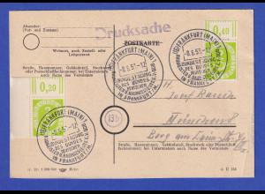 Karte Drucksache mit MEF Posthorn 2Pfg Oberrand- und Eckrandstück So-O FRANKFURT