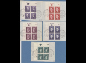 Generalgouvernement 1942 Kulturträger Mi.-Nr. 96-100 ER-Viererblocks mit So.-O