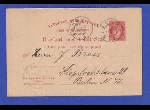 Norwegen Ganzsache Fragekarte Mi.-Nr. P47 I F 1900 gel. von SANDNES n. Berlin