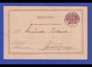 Schweden Ganzsache 6 Öre 1885 gelaufen von Göteborg nach Jönkoping