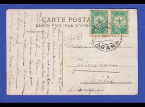 Türkei AK Konstantinopel 1910 gelaufen von ADANA nach Illertissen