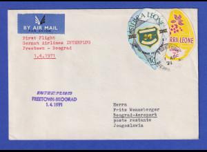 Sierra Leone Brief befördert mit Erstflug INTERFLUG Freetown-Belgrad 1.4.1971