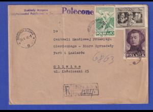 Polen R-Brief ab SWIDNICA SLASKA 24.6.48 gelaufen nach Gliwice