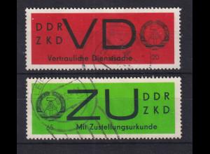 DDR Dienstmarken VD und ZU auf gestrichenem Papier, O Mi.-Nr. D 3y und E 2y