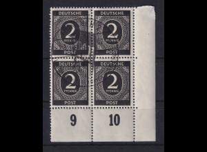 All. Besetzung Ziffernserie 2 Pfg Mi.-Nr. 912 Eckrand-Viererblock gestempelt