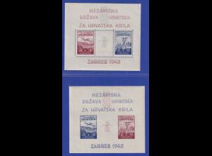 Kroatien / Hrvatska 1942 Modellflugzeuge Mi.-Nr. Blocks 1 und 2 postfrisch **