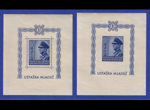 Kroatien / Hrvatska 1943 Präs. Pavelic Mi.-Nr. Blocks 4 A und B postfrisch **