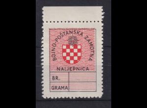 Kroatien / Hrvatska 1945 Feldpostmarke Staatswappen Mi.-Nr. 1 postfrisch **