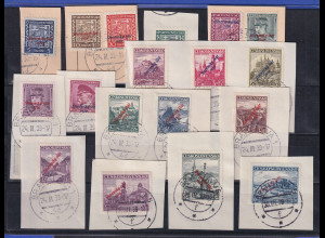 Slowakei 1939 Freimarken Mi.-Nr. 2-22 (ohne Nr. 11) gestempelt auf Briefstücken