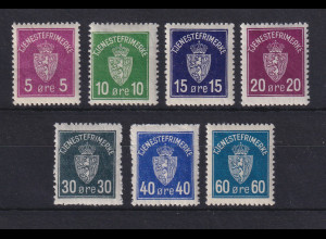 Norwegen 1942 Dienstmarken Wappen Mi.-Nr. 1-7 ungestempelt