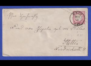 Dt. Reich Brustschild 1Gr. Ganzsache gelaufen von EXIN nach Stettin, 1874