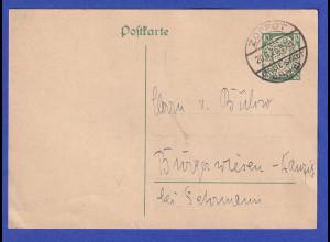 Danzig, Ganzsache Wappen 10Pfg grün Mi.-Nr. P34 O ZOPPOT 20.6.26