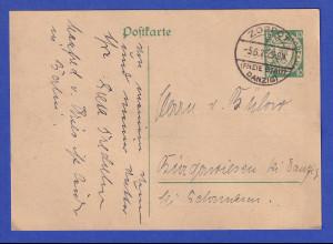 Danzig, Ganzsache Wappen 10Pfg grün Mi.-Nr. P34 O ZOPPOT 5.6.26