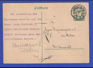 Danzig, Ganzsache Wappen 10Pfg grün Mi.-Nr. P34 O DANZIG 12.4.26