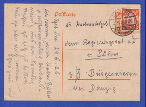 Danzig, Ganzsache Wappen 5Pfg orange Mi-Nr. P33 mit Zufrankatur O ZOPPOT 23.6.26