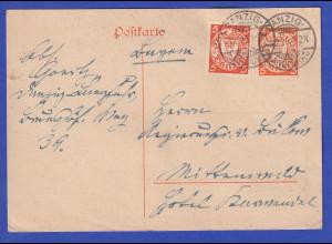 Danzig, Ganzsache Wappen 5Pfg orange Mi-Nr. P33 mit Zufrankatur O ZOPPOT 7.12.26