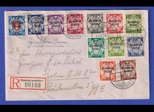 Dt.Reich Danzig-Eingliederung Pfennigwerte Mi.-Nr. 716-27 auf Sammler R-Brief