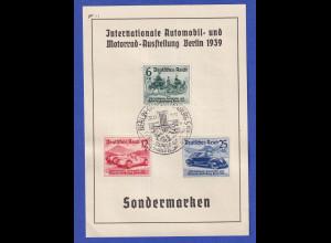 Deutsches Reich 1939 Automobil-Ausstellung, Mi.-Nr. 686-688 aof Souvenir-Karte