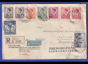 Jugoslawien 1940 R-Brief aus Belgrad gel. nach Berlin, Zensur