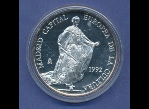 Spanien 1992 Silbermünze 5 Ecu, Madrid Kulturhauptstadt Europas, 33,6g Ag925