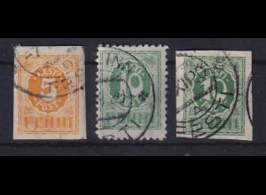 Estland 1919 Freimarken Ziffern Mi.-Nr. 6-8 gestempelt