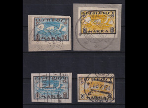 Estland 1919 Freimarken Wikinger-Schiff Mi.-Nr. 12-13 x und y gestempelt
