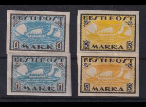 Estland 1919 Freimarken Wikinger-Schiff Mi.-Nr. 12-13 x und y ungebraucht *