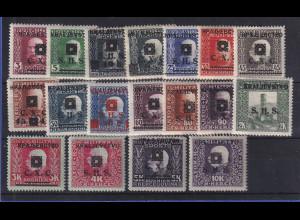 Jugoslawien 1919 Freimarken Bosnien und Herzegowina Mi.-Nr. 33-50 ungebraucht *