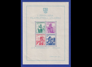Jugoslawien 1937 Volkstrachten Mi.-Nr. Block 1 postfrisch **