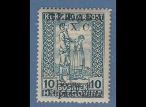 Jugoslawien Freimarke 10 H blaugrün mit Aufdruck C.X.C. Mi.-Nr. 19 II ungebr. *