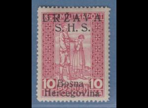 Jugoslawien Freimarke 10 H lilarot mit Aufdruck S.H.S. Mi.-Nr. A20 I ungebr. *