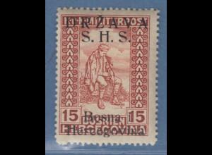 Jugoslawien Freimarke 15 H braunrot mit Aufdruck S.H.S. Mi.-Nr. 20 I ungebr. *
