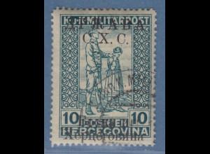 Jugoslawien Freimarke 10 H blaugrün mit Aufdruck C.X.C. Mi.-Nr. 19 II gest.