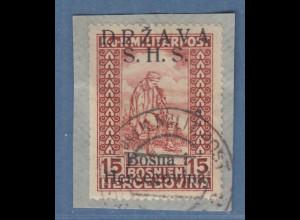 Jugoslawien Freimarke 15 H braunrot mit Aufdruck S.H.S. Mi.-Nr. 20I gest.