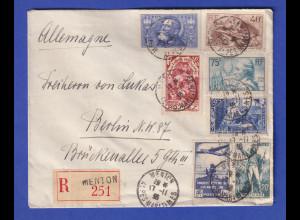 Frankreich 1936 R-Brief mit Sondermarken-Mischfrankatur 1936 gel. nach Berlin
