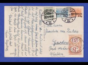 Österreich 1934 Winterhilfe 3 Werte auf Karte nach Italien, mit Nachporto belegt