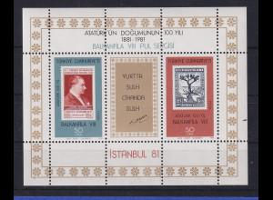 Türkei 1981 Atatürk 100. Geburtstag - Briefmarkenausstellung Mi.-Nr. Block 20 **