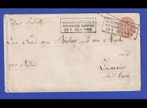 Preußen Ganzsachen-Umschlag U28 A gel. von BERLIN nach Ziuravia / Escin