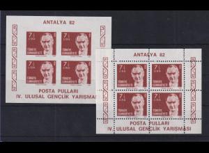 Türkei 1982 Atatürk - Jugend-Briefmarkenausstellung Mi.-Nr. Block 22 A und B **
