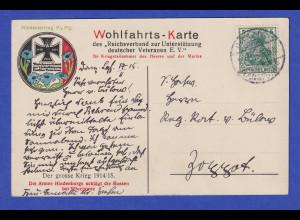 Dt. Reich 1.WK 5Pfg Germania auf Wohlfahrtskarte Veteranen E.V. Stempel DANZIG